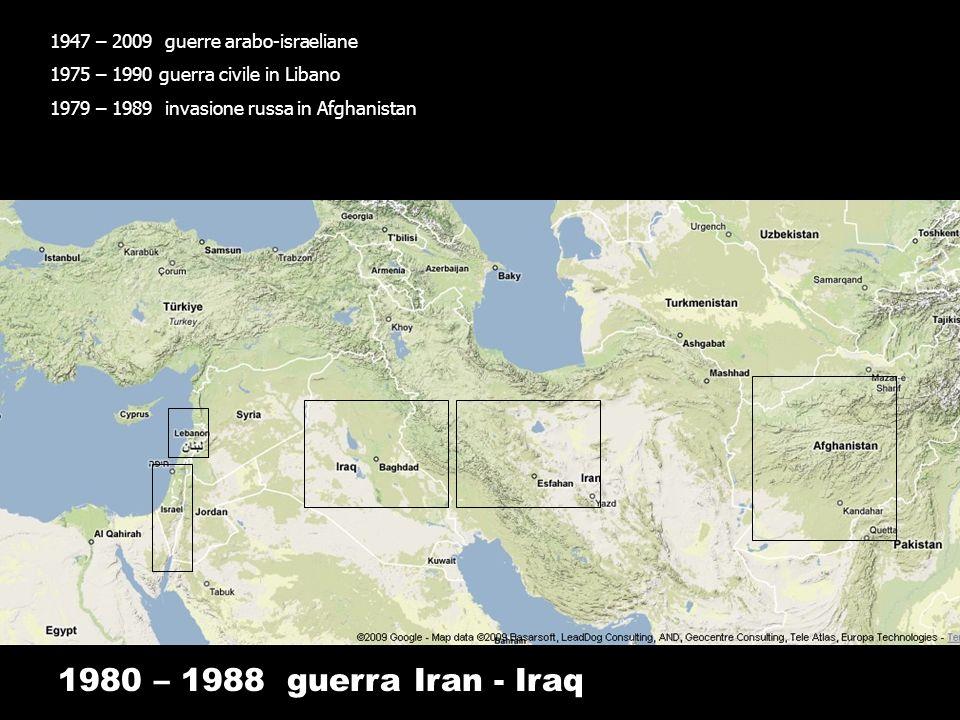 1947 – 2009 guerre arabo-israeliane 1975 – 1990 guerra civile in Libano 1979 – 1989 invasione russa in Afghanistan 1980 – 1988 guerra Iran - Iraq 1991 prima guerra del Golfo