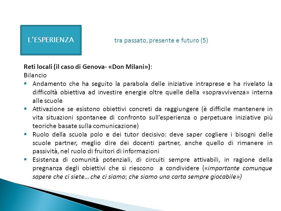 LESPERIENZA Reti locali (il caso di Genova- «Don Milani»): Bilancio Andamento che ha seguito la parabola delle iniziative intraprese e ha rivelato la
