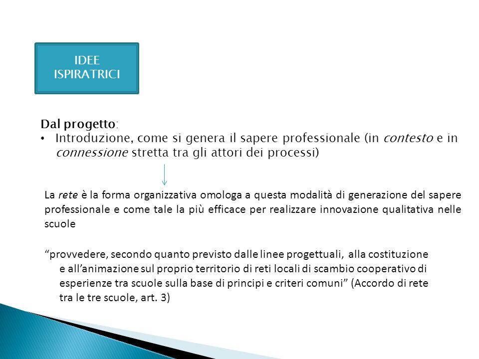 IDEE ISPIRATRICI Dal progetto: Introduzione, come si genera il sapere professionale (in contesto e in connessione stretta tra gli attori dei processi)