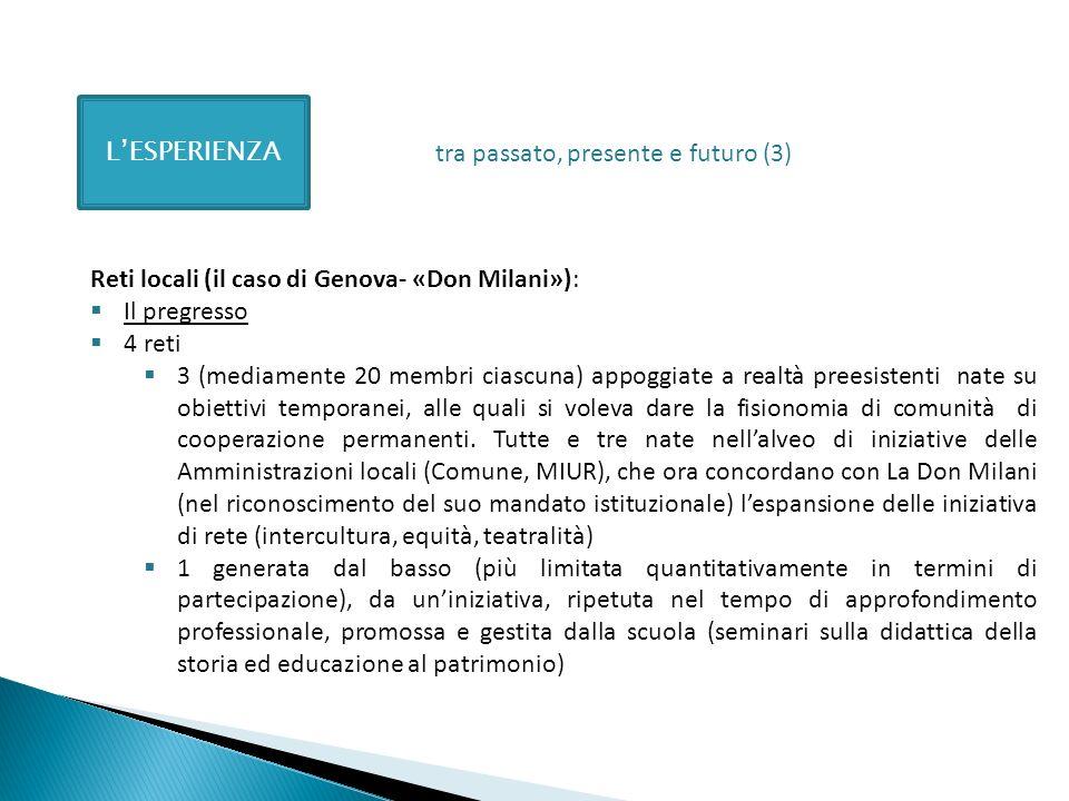 LESPERIENZA Reti locali (il caso di Genova- «Don Milani»): Il pregresso 4 reti 3 (mediamente 20 membri ciascuna) appoggiate a realtà preesistenti nate su obiettivi temporanei, alle quali si voleva dare la fisionomia di comunità di cooperazione permanenti.