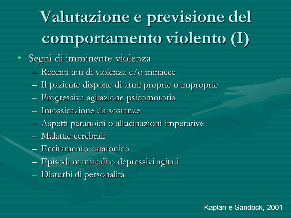 Valutazione e previsione del comportamento violento (I) Segni di imminente violenzaSegni di imminente violenza –Recenti atti di violenza e/o minacce –