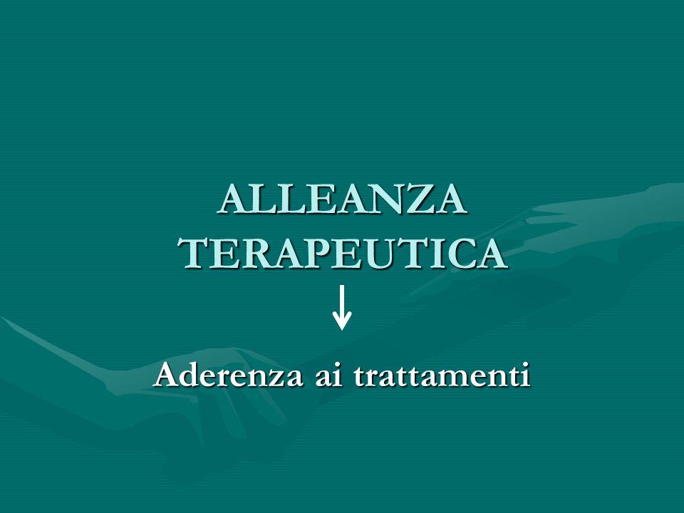 ALLEANZA TERAPEUTICA Aderenza ai trattamenti