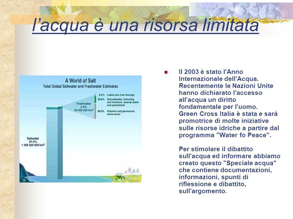lacqua è una risorsa limitata Il 2003 è stato l Anno Internazionale dell Acqua.