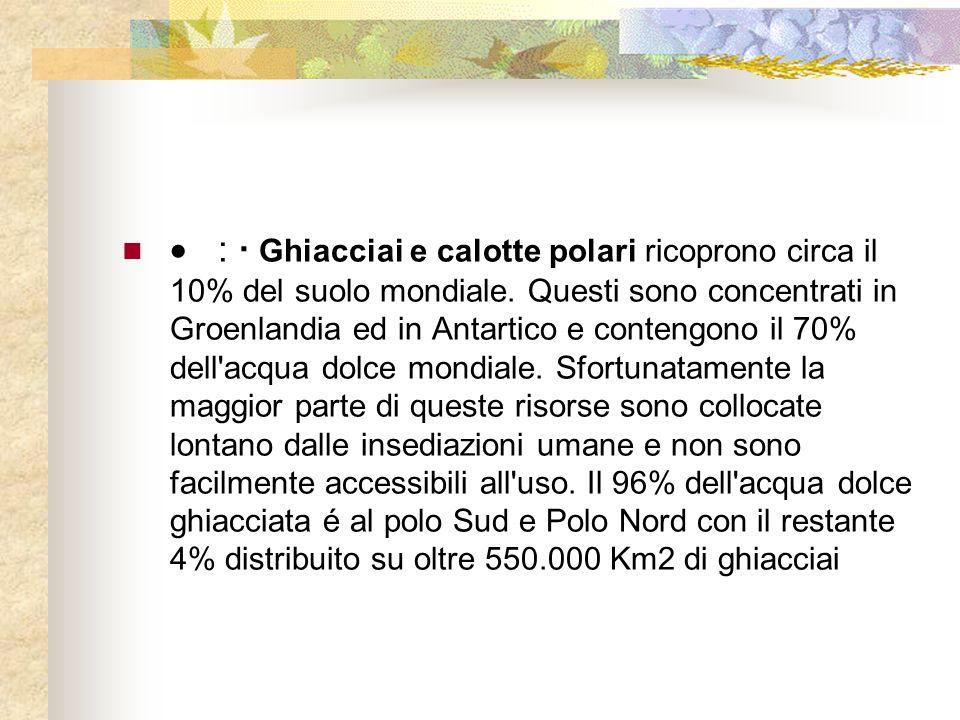 : · Ghiacciai e calotte polari ricoprono circa il 10% del suolo mondiale.