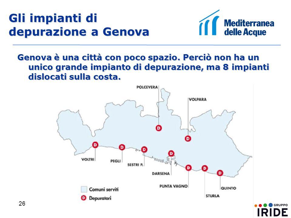 26 Gli impianti di depurazione a Genova Genova è una città con poco spazio.