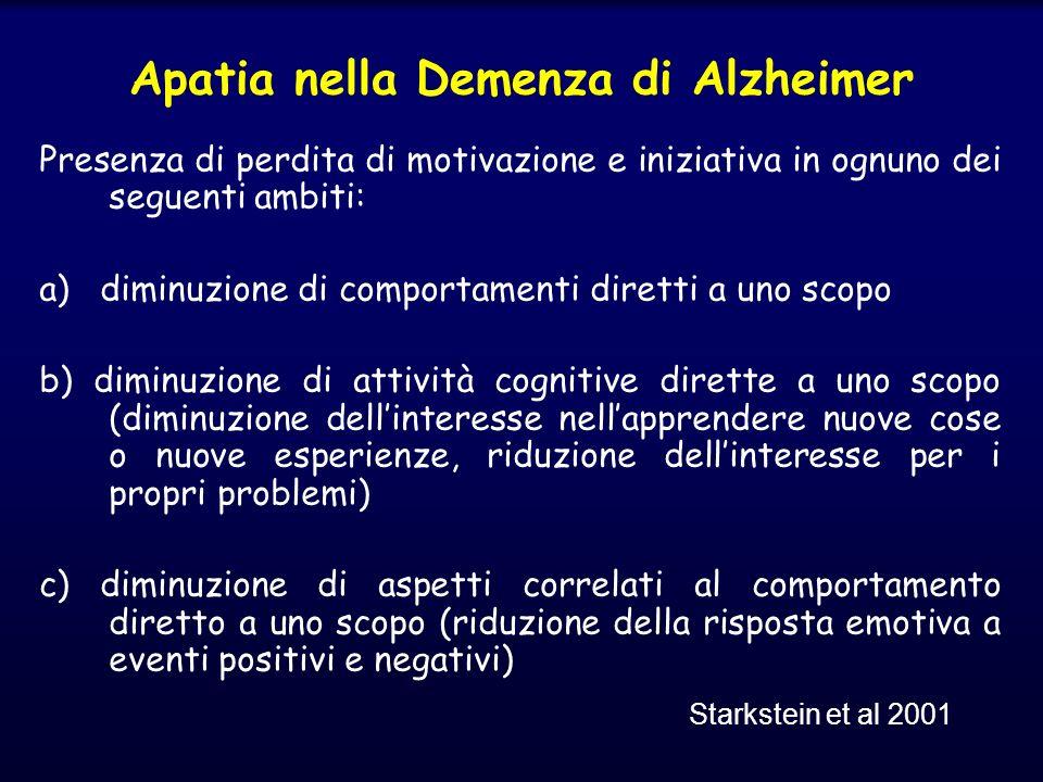 Presenza di perdita di motivazione e iniziativa in ognuno dei seguenti ambiti: a) diminuzione di comportamenti diretti a uno scopo b) diminuzione di a