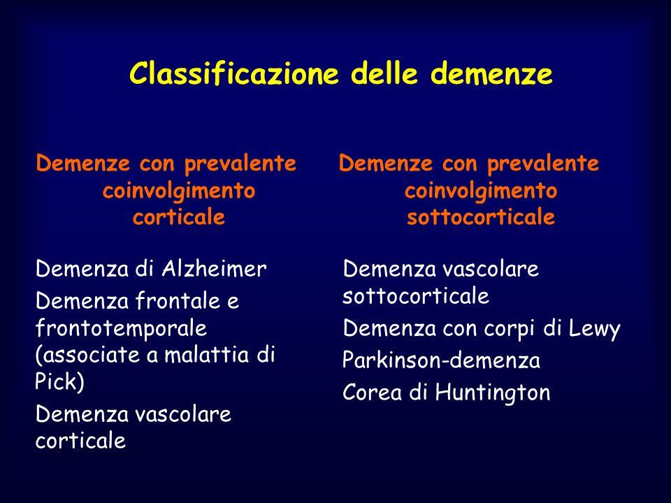 Classificazione delle demenze Demenze con prevalente coinvolgimento corticale Demenze con prevalente coinvolgimento sottocorticale Demenza di Alzheime