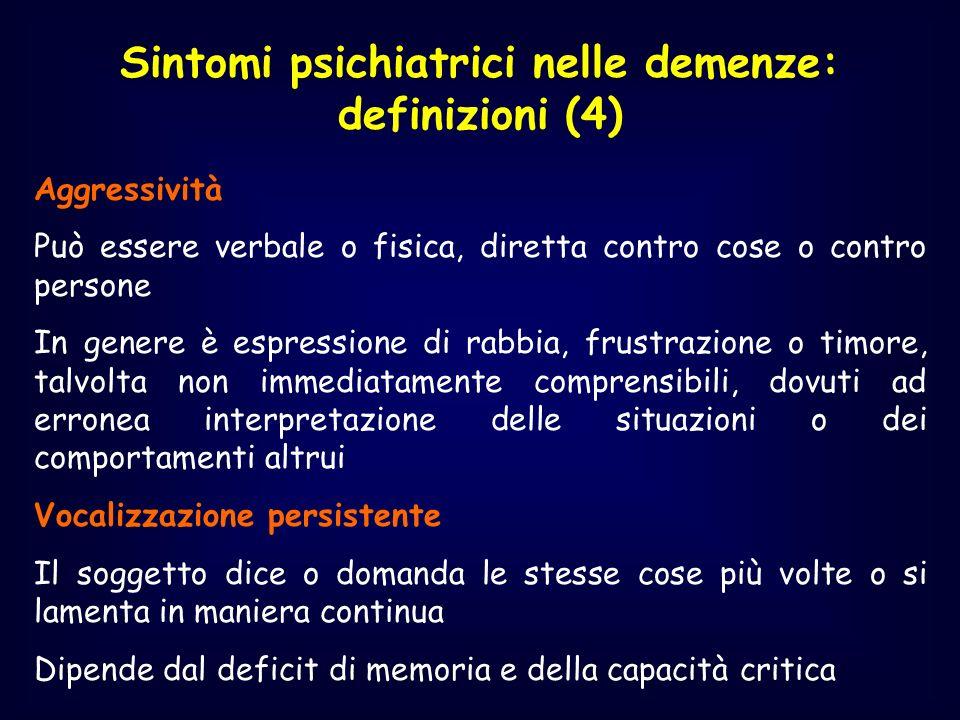 Sintomi psichiatrici nelle demenze: definizioni (4) Aggressività Può essere verbale o fisica, diretta contro cose o contro persone In genere è espress