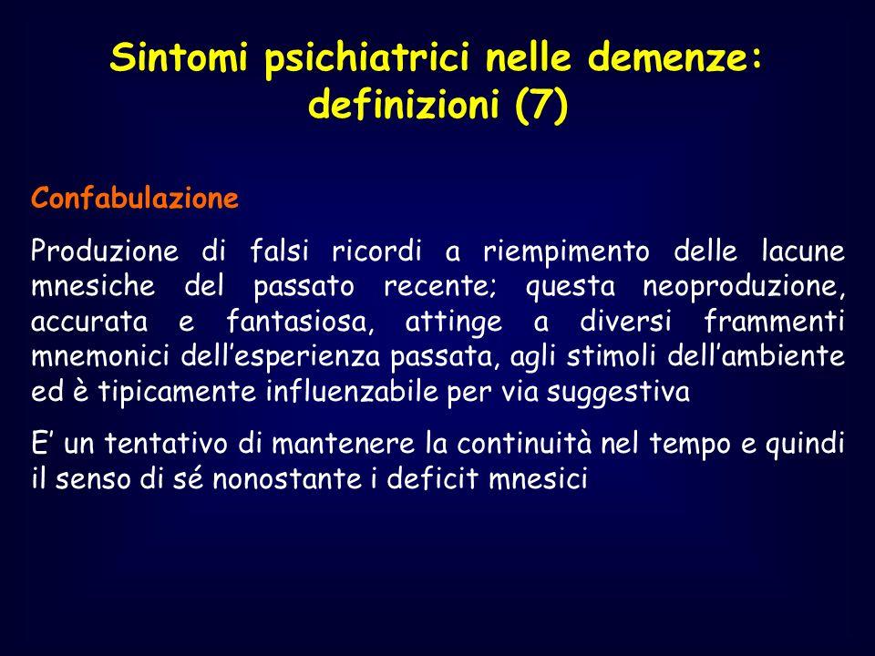 Sintomi psichiatrici nelle demenze: definizioni (7) Confabulazione Produzione di falsi ricordi a riempimento delle lacune mnesiche del passato recente