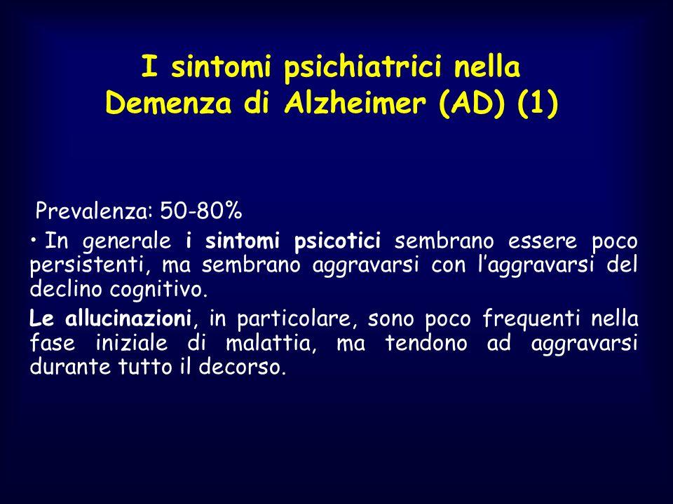 I sintomi psichiatrici nella Demenza di Alzheimer (AD) (1) Prevalenza: 50-80% In generale i sintomi psicotici sembrano essere poco persistenti, ma sem