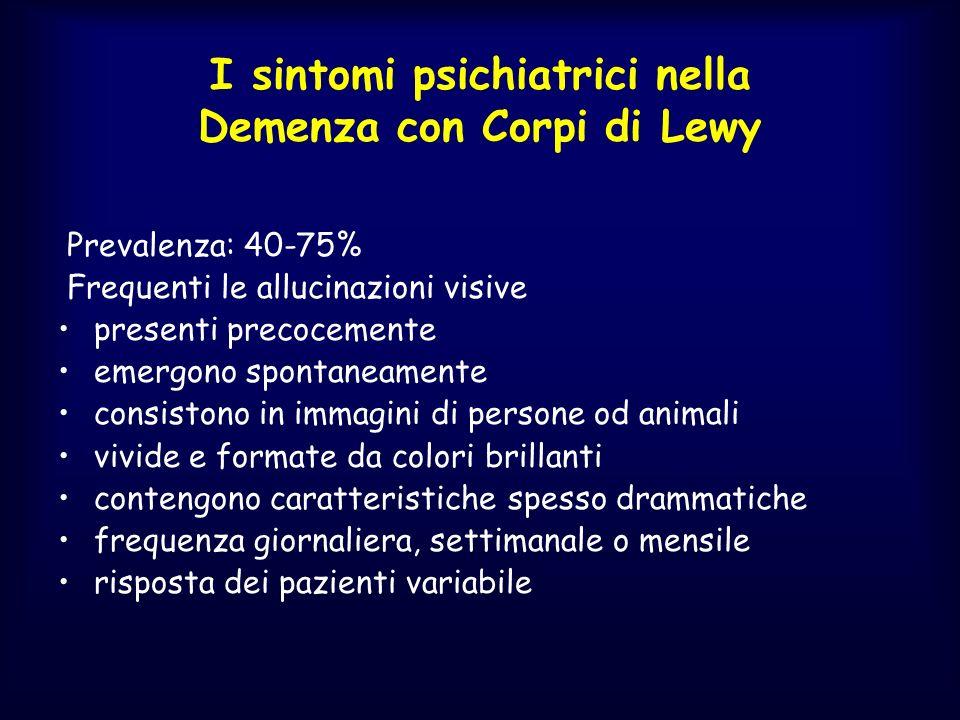 I sintomi psichiatrici nella Demenza con Corpi di Lewy Prevalenza: 40-75% Frequenti le allucinazioni visive presenti precocemente emergono spontaneame