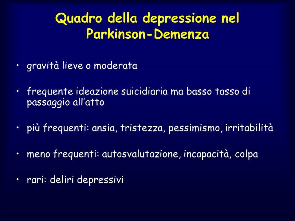 Quadro della depressione nel Parkinson-Demenza gravità lieve o moderata frequente ideazione suicidiaria ma basso tasso di passaggio allatto più freque