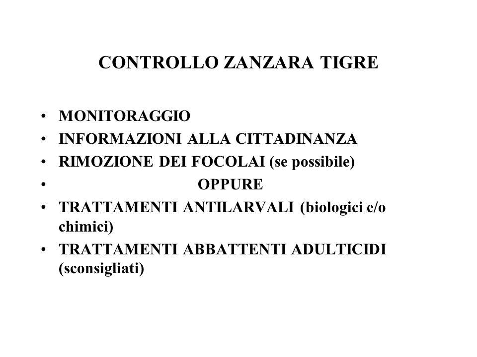 CONTROLLO ZANZARA TIGRE MONITORAGGIO INFORMAZIONI ALLA CITTADINANZA RIMOZIONE DEI FOCOLAI (se possibile) OPPURE TRATTAMENTI ANTILARVALI (biologici e/o chimici) TRATTAMENTI ABBATTENTI ADULTICIDI (sconsigliati)