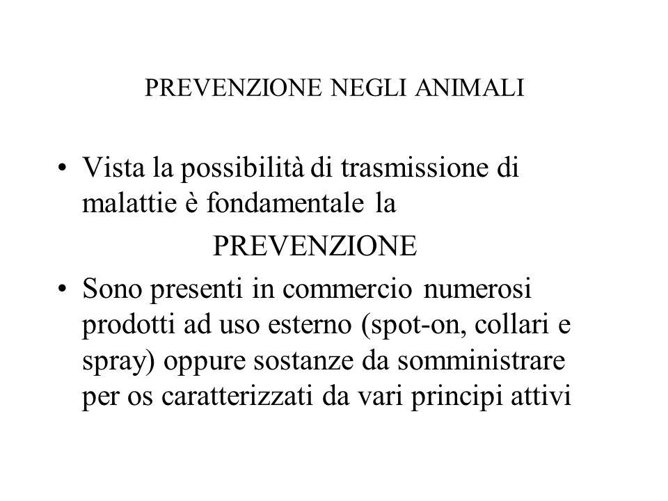 PREVENZIONE NEGLI ANIMALI Vista la possibilità di trasmissione di malattie è fondamentale la PREVENZIONE Sono presenti in commercio numerosi prodotti