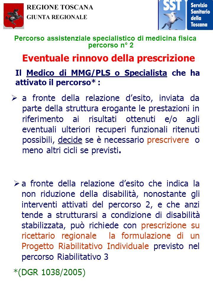 Percorso assistenziale specialistico di medicina fisica percorso n° 2 a fronte della relazione desito, inviata da parte della struttura erogante le pr