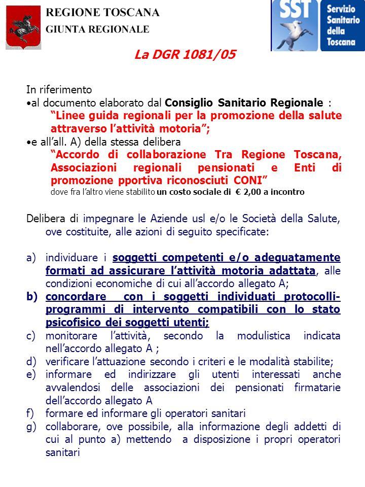 La DGR 1081/05 Delibera di impegnare le Aziende usl e/o le Società della Salute, ove costituite, alle azioni di seguito specificate: a)individuare i s