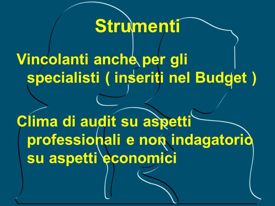 Strumenti Vincolanti anche per gli specialisti ( inseriti nel Budget ) Clima di audit su aspetti professionali e non indagatorio su aspetti economici