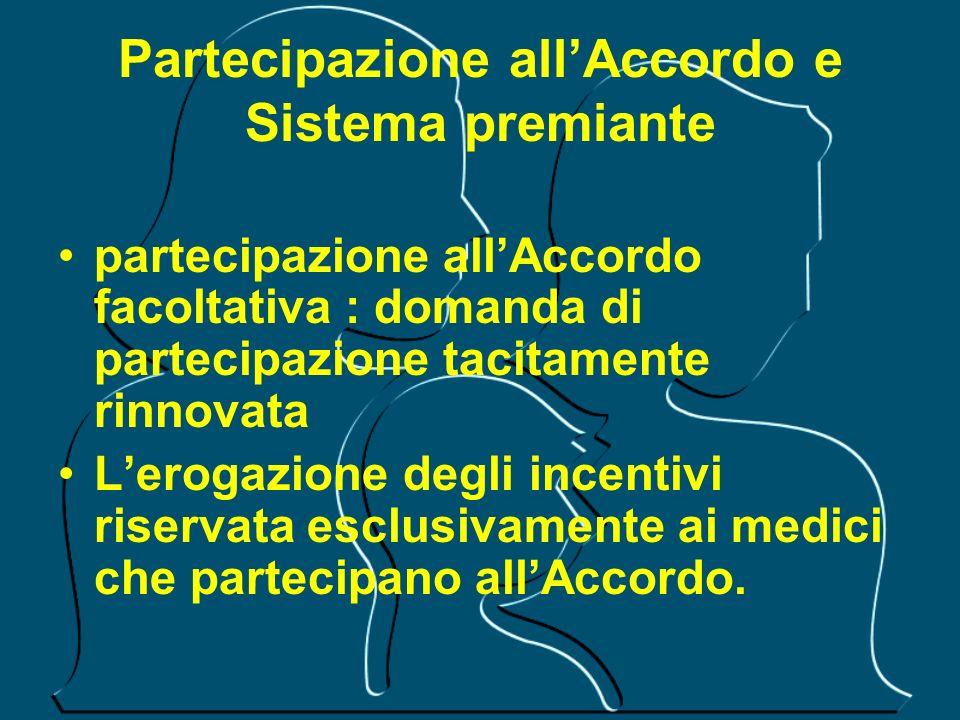 Partecipazione allAccordo e Sistema premiante partecipazione allAccordo facoltativa : domanda di partecipazione tacitamente rinnovata Lerogazione degl