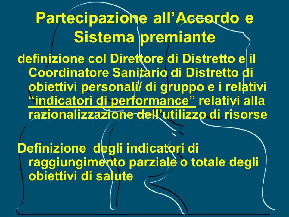 Partecipazione allAccordo e Sistema premiante definizione col Direttore di Distretto e il Coordinatore Sanitario di Distretto di obiettivi personali/