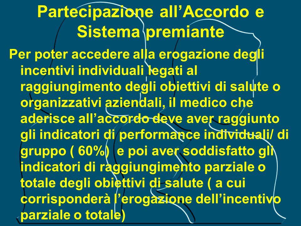 Partecipazione allAccordo e Sistema premiante Per poter accedere alla erogazione degli incentivi individuali legati al raggiungimento degli obiettivi