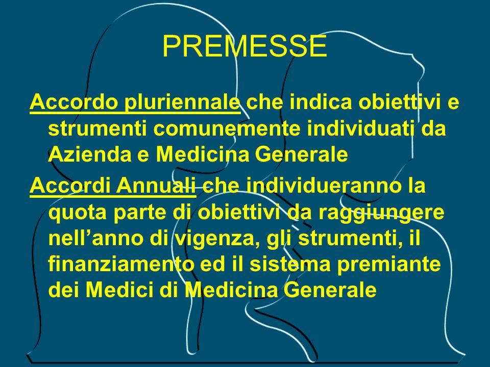 PREMESSE Accordo pluriennale che indica obiettivi e strumenti comunemente individuati da Azienda e Medicina Generale Accordi Annuali che individuerann