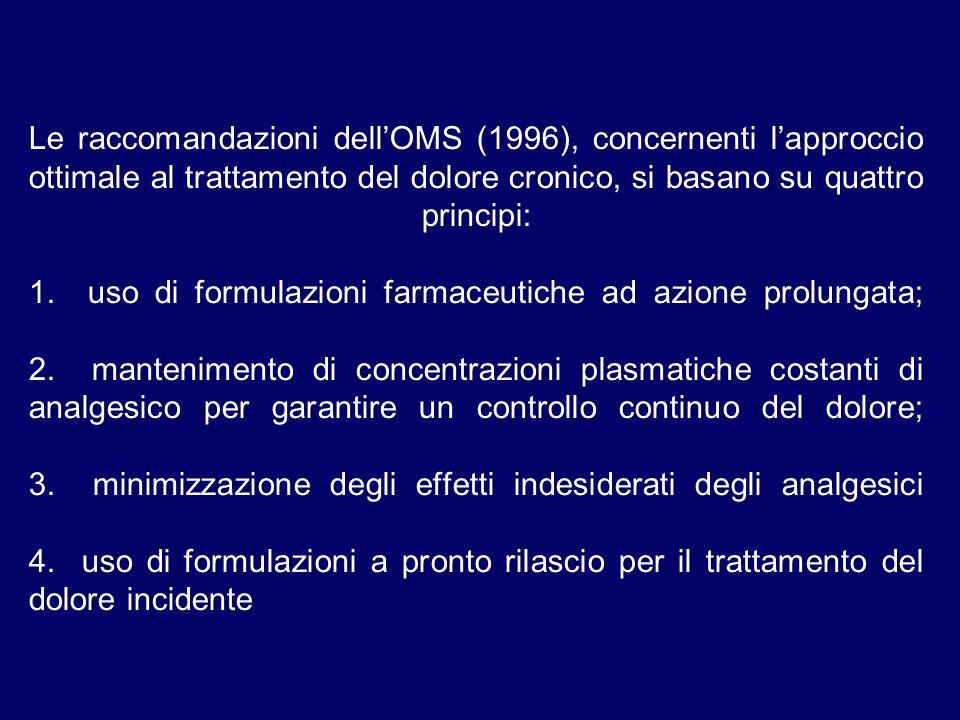 Le raccomandazioni dellOMS (1996), concernenti lapproccio ottimale al trattamento del dolore cronico, si basano su quattro principi: 1.