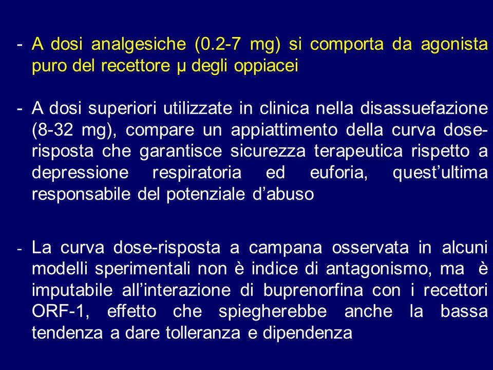 - A dosi analgesiche (0.2-7 mg) si comporta da agonista puro del recettore µ degli oppiacei -A dosi superiori utilizzate in clinica nella disassuefazione (8-32 mg), compare un appiattimento della curva dose- risposta che garantisce sicurezza terapeutica rispetto a depressione respiratoria ed euforia, questultima responsabile del potenziale dabuso - La curva dose-risposta a campana osservata in alcuni modelli sperimentali non è indice di antagonismo, ma è imputabile allinterazione di buprenorfina con i recettori ORF-1, effetto che spiegherebbe anche la bassa tendenza a dare tolleranza e dipendenza