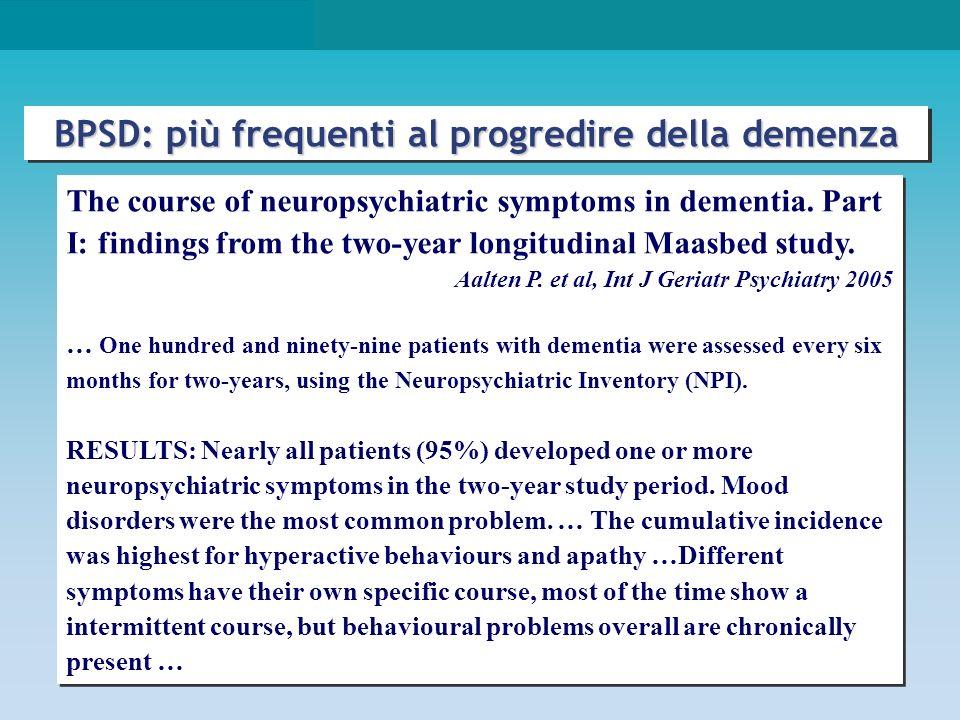 p < 0,05 Lyketsos CG et al., Am J Psychiatry 2000 BPSD in VaD: comuni ed importanti come in AD