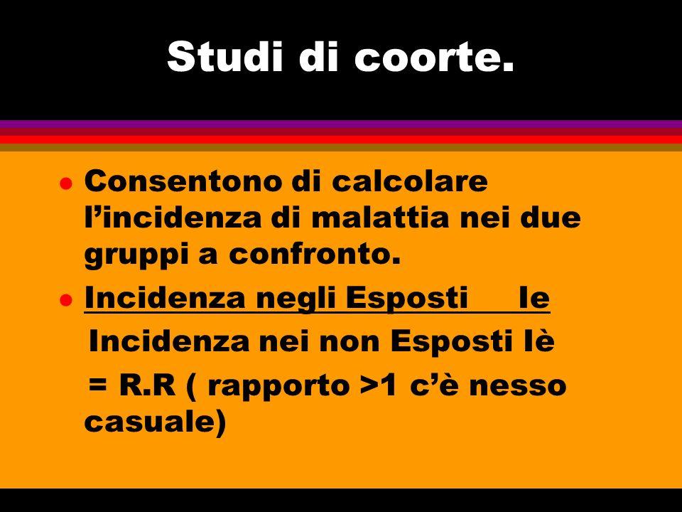 Studi di coorte. l Consentono di calcolare lincidenza di malattia nei due gruppi a confronto. l Incidenza negli Esposti Ie Incidenza nei non Esposti I