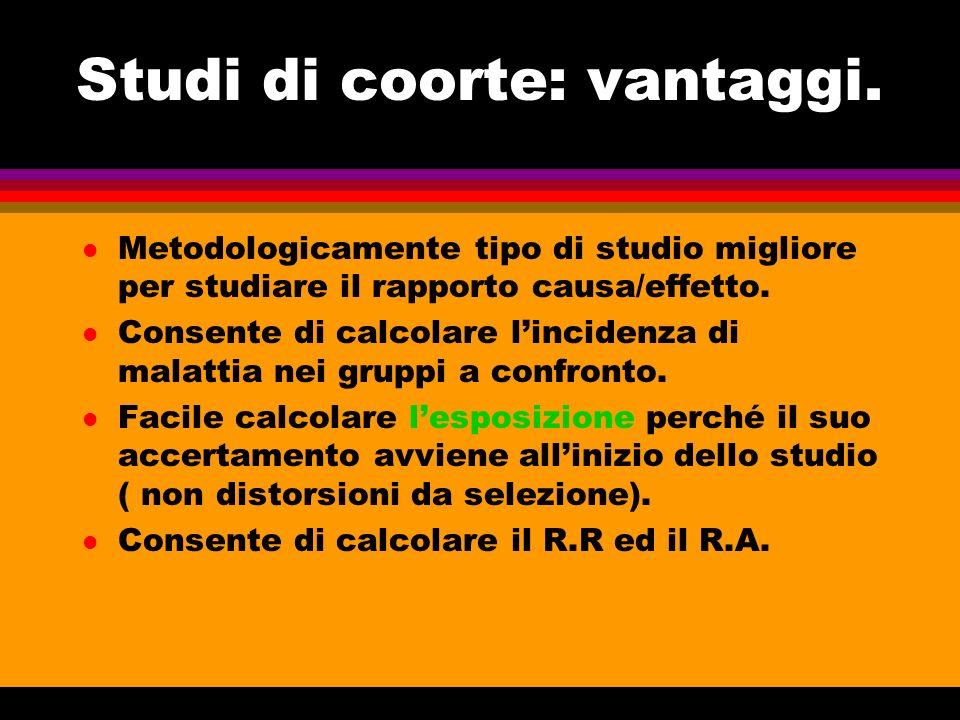 Studi di coorte: vantaggi. l Metodologicamente tipo di studio migliore per studiare il rapporto causa/effetto. l Consente di calcolare lincidenza di m