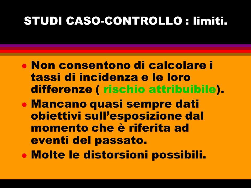 STUDI CASO-CONTROLLO : limiti. l Non consentono di calcolare i tassi di incidenza e le loro differenze ( rischio attribuibile). l Mancano quasi sempre
