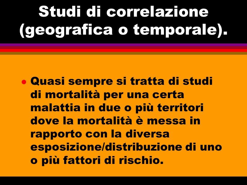 Studi di correlazione (geografica o temporale). l Quasi sempre si tratta di studi di mortalità per una certa malattia in due o più territori dove la m