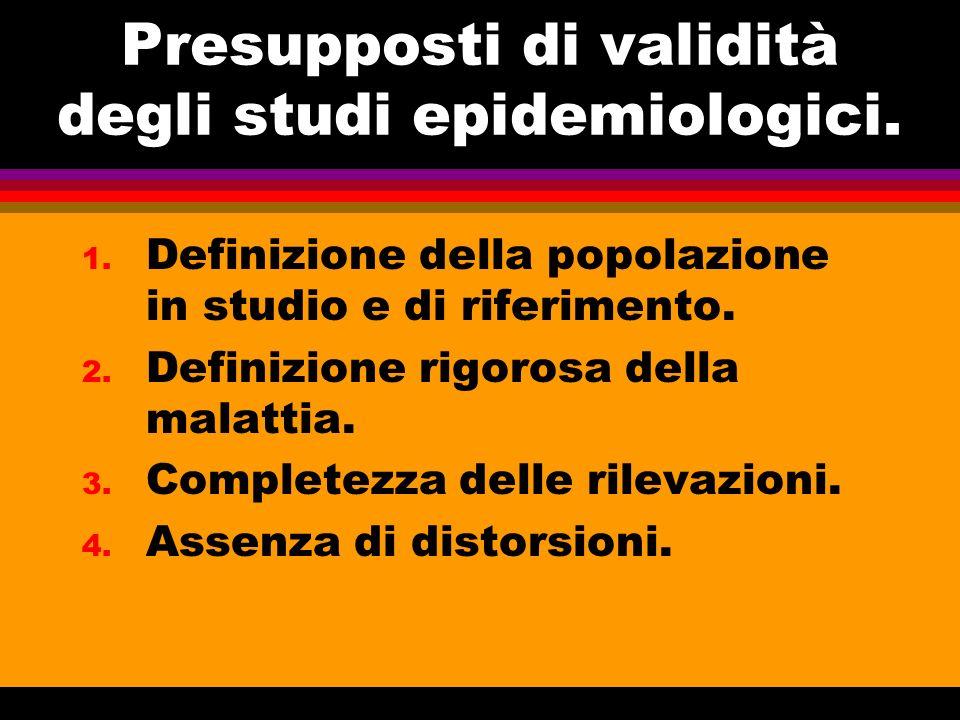 Presupposti di validità degli studi epidemiologici. 1. Definizione della popolazione in studio e di riferimento. 2. Definizione rigorosa della malatti