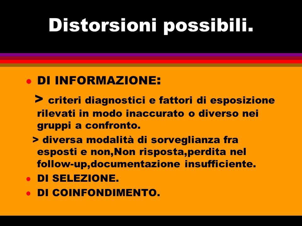 Distorsioni possibili. l DI INFORMAZIONE : > criteri diagnostici e fattori di esposizione rilevati in modo inaccurato o diverso nei gruppi a confronto