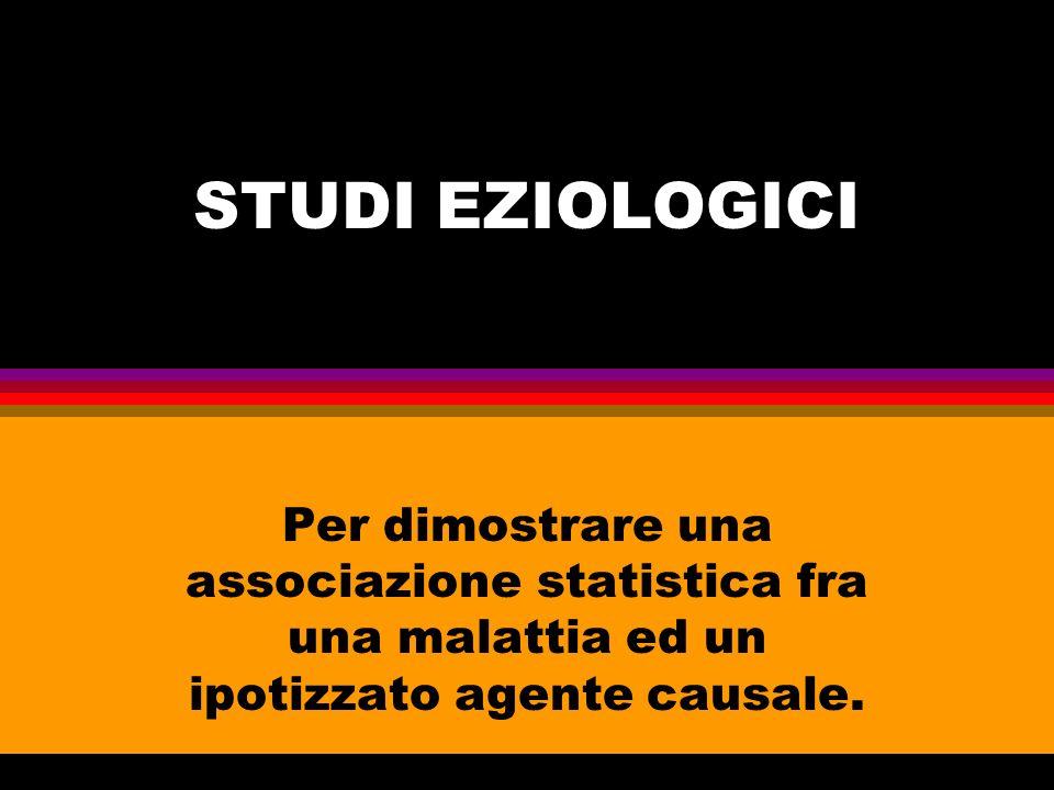 coorte esposizione EVENTO Caso- controllo evento ESPOSI ZIONE trasversali Esposizione/evento