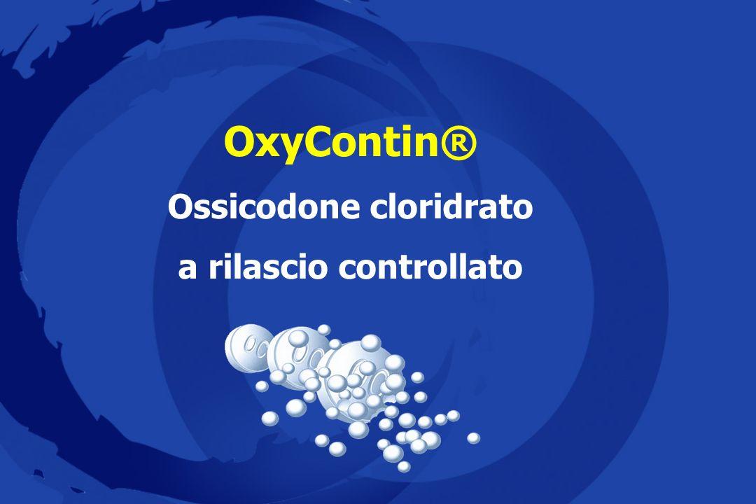 Dosi raccomandate Equianalgesia Ossicodone orale (mg/d í e) 200449-508225-254 175389-448195-224 150329-388165-194 125269-328135-164 100209-268105-134 75149-20875-104 5089-14845-74 25<88<44 Fentanyl transdermico (mcg/h) Morfina orale (mg/d í e) Monferrer Bort M.A et al, 1999 Levy MH, 2001