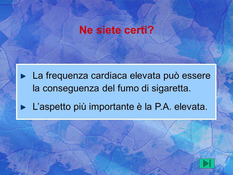 La frequenza cardiaca elevata può essere la conseguenza del fumo di sigaretta. Laspetto più importante è la P.A. elevata. Ne siete certi?