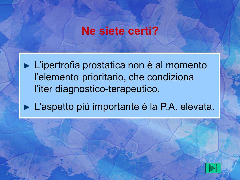 Lipertrofia prostatica non è al momento lelemento prioritario, che condiziona liter diagnostico-terapeutico. Laspetto più importante è la P.A. elevata