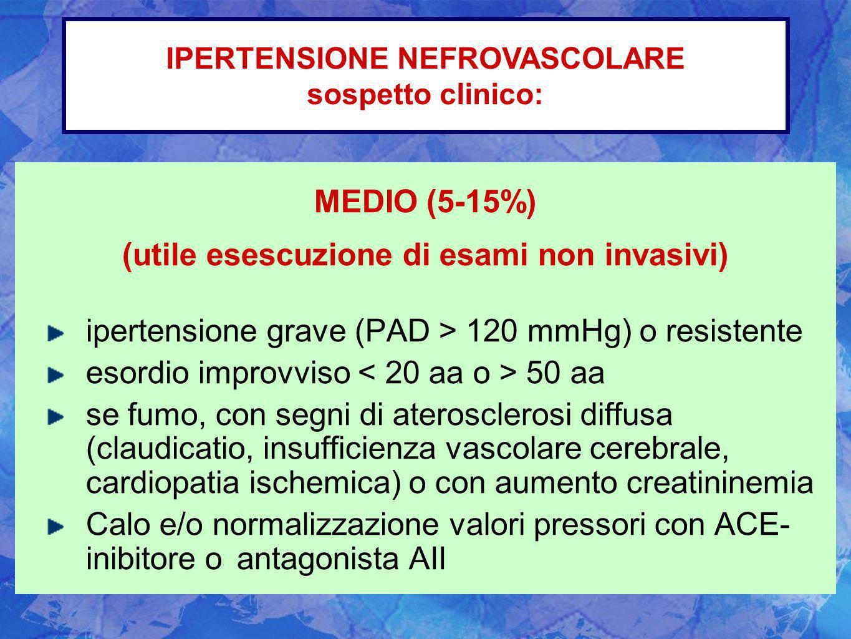 MEDIO (5-15%) (utile esescuzione di esami non invasivi) ipertensione grave (PAD > 120 mmHg) o resistente esordio improvviso 50 aa se fumo, con segni d
