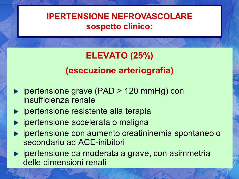 ELEVATO (25%) (esecuzione arteriografia) ipertensione grave (PAD > 120 mmHg) con insufficienza renale ipertensione resistente alla terapia ipertension