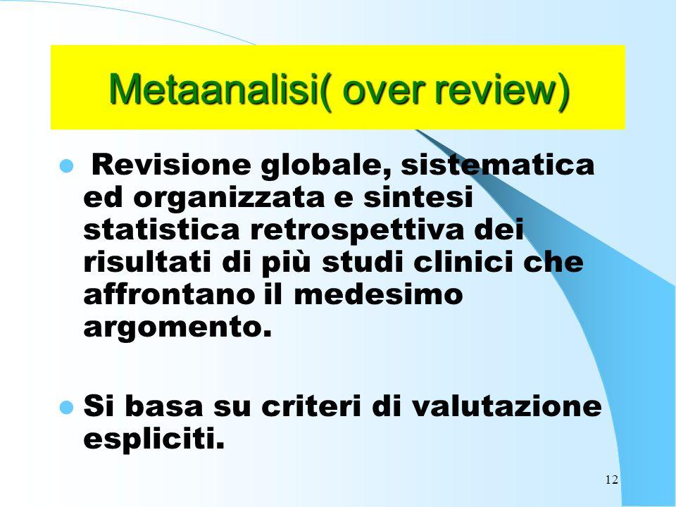 12 Metaanalisi( over review) Revisione globale, sistematica ed organizzata e sintesi statistica retrospettiva dei risultati di più studi clinici che affrontano il medesimo argomento.