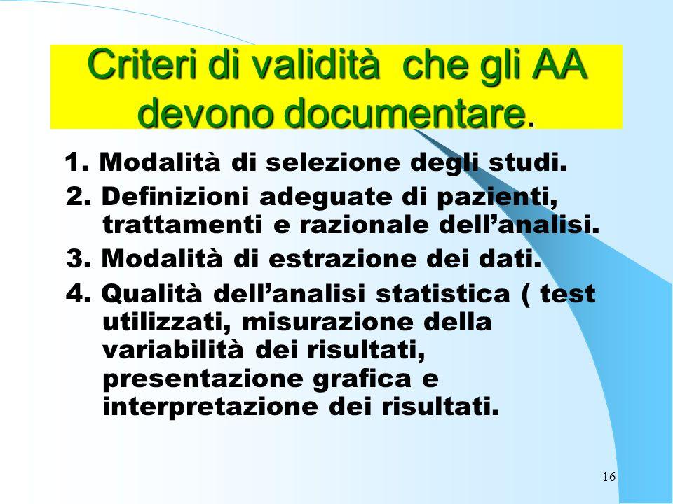 16 Criteri di validità che gli AA devono documentare.