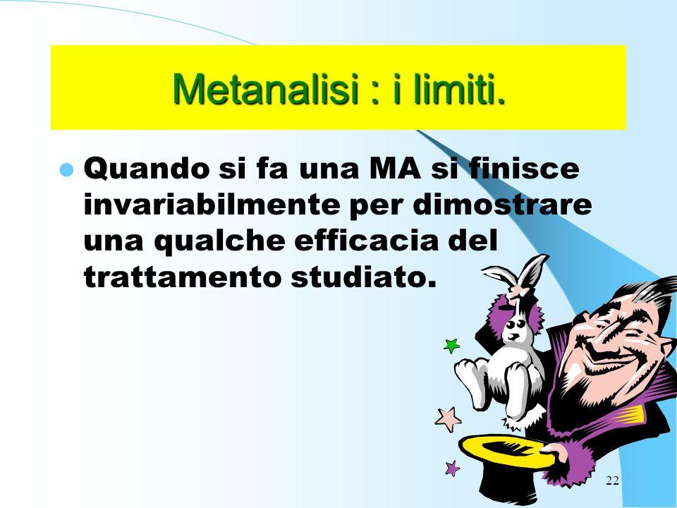 22 Metanalisi : i limiti.