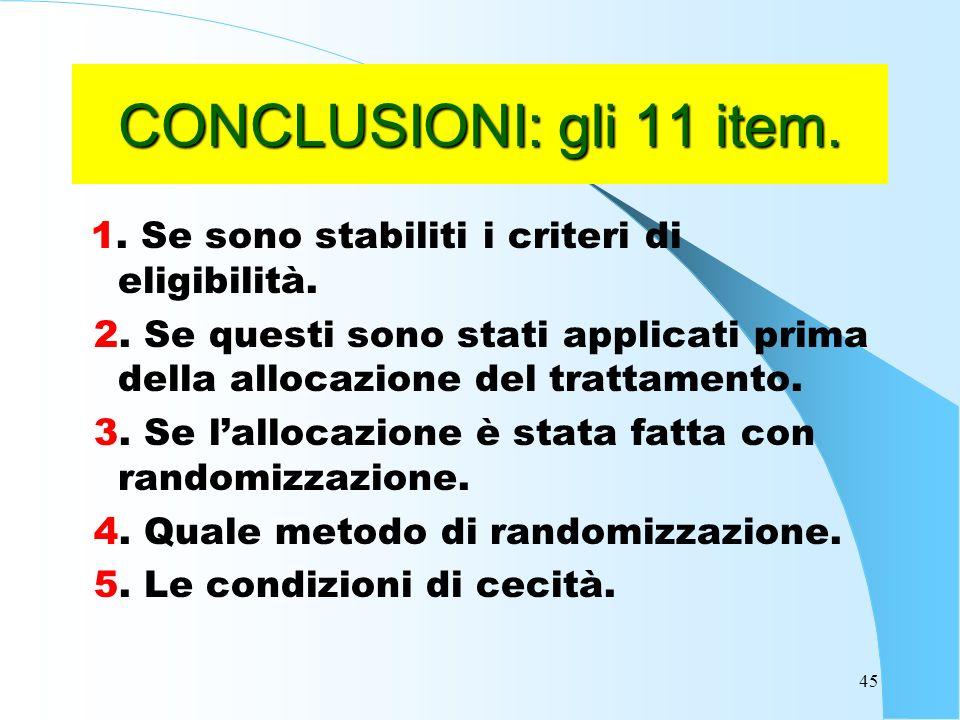 45 CONCLUSIONI: gli 11 item.1. Se sono stabiliti i criteri di eligibilità.