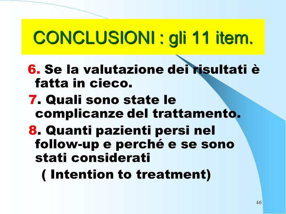 46 CONCLUSIONI : gli 11 item.6. Se la valutazione dei risultati è fatta in cieco.