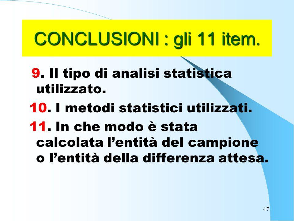 47 CONCLUSIONI : gli 11 item.9. Il tipo di analisi statistica utilizzato.