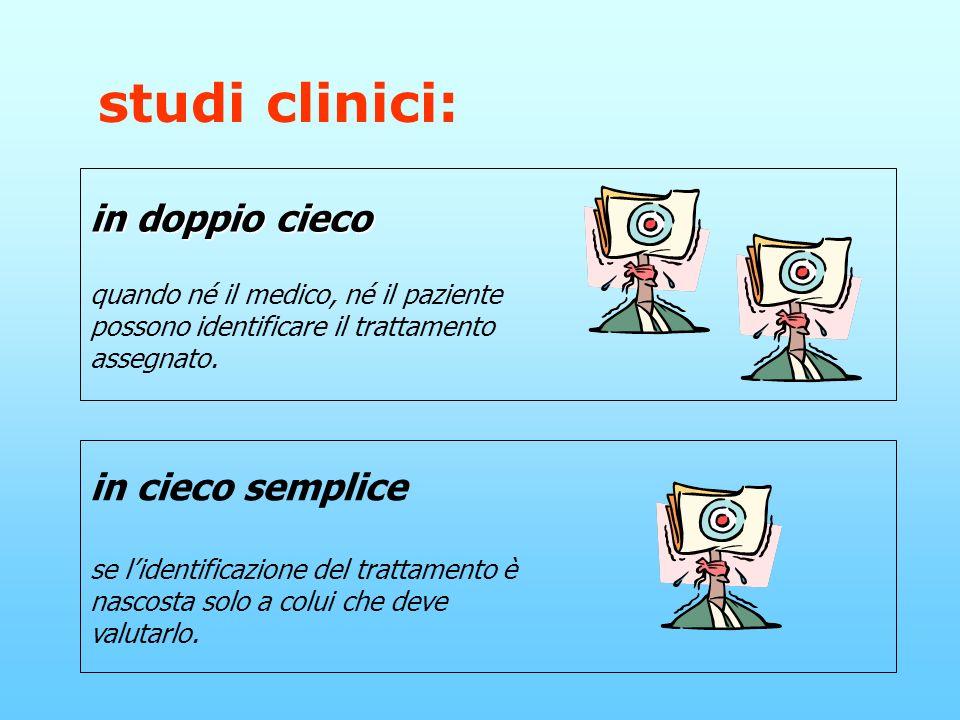 studi clinici: in doppio cieco quando né il medico, né il paziente possono identificare il trattamento assegnato.