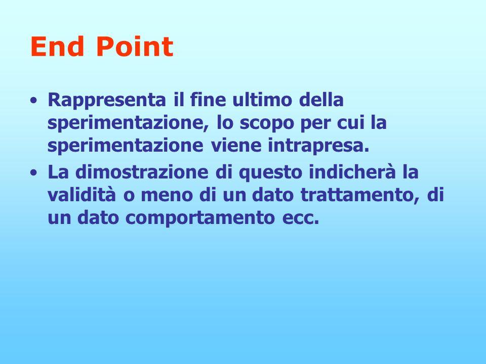 End Point Rappresenta il fine ultimo della sperimentazione, lo scopo per cui la sperimentazione viene intrapresa.