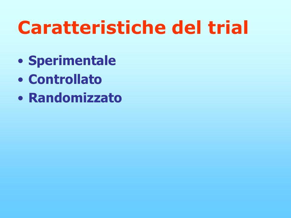 Caratteristiche del trial Sperimentale Controllato Randomizzato