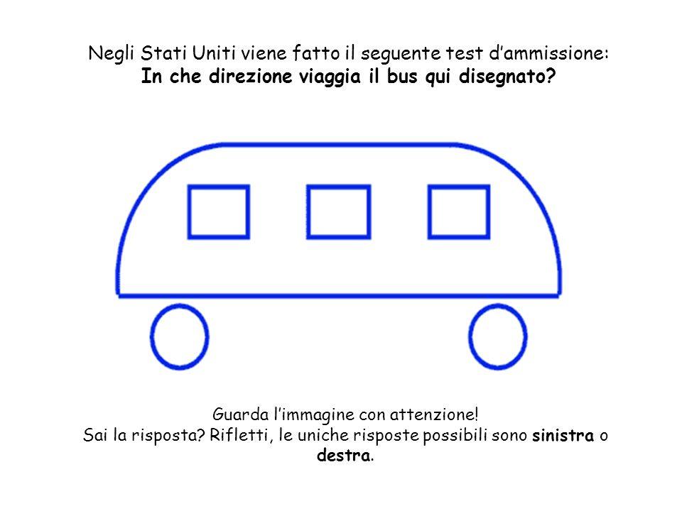 Negli Stati Uniti viene fatto il seguente test dammissione: In che direzione viaggia il bus qui disegnato? Guarda limmagine con attenzione! Sai la ris